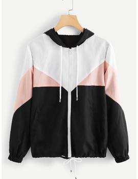 Color Block Drawstring Hem Hooded Jacket by Sheinside
