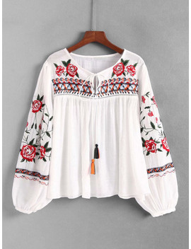 Tassel Tie Embroidered Blouse by Sheinside