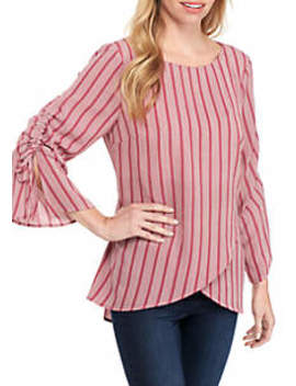 Cross Front Best Seller Cinched Sleeve Tunic by New Directions