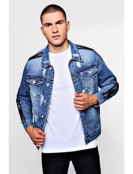Man Signature Tape Denim Jacket by Boohoo