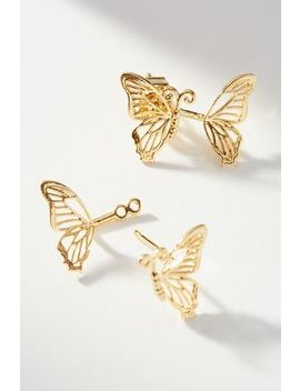 Butterfly Front Back Earrings by Anthropologie