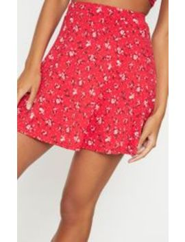 Red Ditsy Floral Skater Skirt by Prettylittlething
