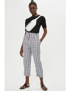 Petite Check Button Peg Trousers by Topshop
