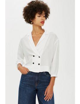 petite-button-down-blouse by topshop