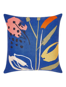 House By John Lewis Peace Lily Cushion, Cobalt by House By John Lewis