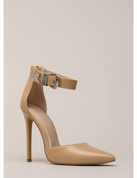 Western Coast Pointy Ankle Strap Heels by Go Jane