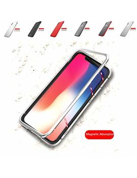 I Phone X Case Aluminum Alloy Metal Bumper Frame Protective Cover With Magnetic Clear Transparent Back Tempered Glass For I Phone X 2017 (Silver +White) by Iqiyevolew