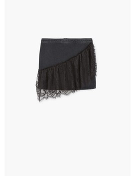 Lace Denim Skirt by Mango