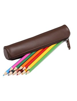 Meku Leather Pencils Pens Case Pouch   Zipper Pencils Bag 2 Slots Pens Holder (Dark Brown) by Meku