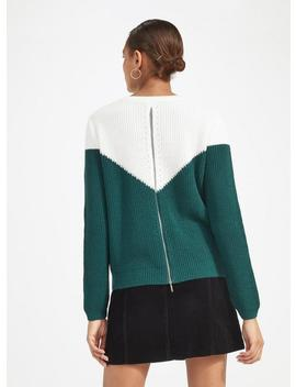 Colour Block Zip Back Knitted Jumper by Miss Selfridge