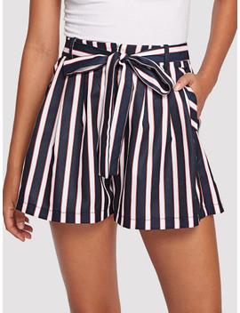 Striped Wide Leg Shorts by Shein