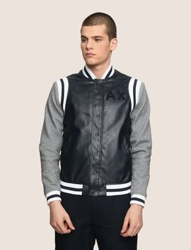 Knit Sleeve Faux Leather Varsity Jacket by Armani Exchange