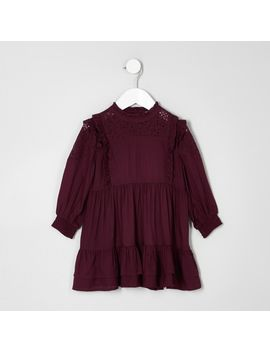 Mini Girls Dark Purple Frill High Neck Dress by River Island