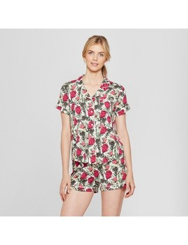 Women's Floral Printed Short Sleeve Notch Collar Pajama Set   Gilligan & O'malley™ Pink Protea by Shop All Gilligan & O'malley™