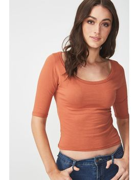 Everyday Scoop Neck Elbow Sleeve Top by Cotton On