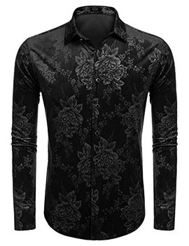 Coofandy Mens Fleece Floral Print Long Sleeve Button Down Shirt by Coofandy