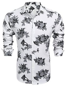 Coofandy Men's Floral Print Long Sleeve Slim Fit Cotton Casual Button Down Hawaiian Shirt by Coofandy