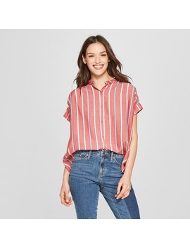 Women's Striped Short Sleeve Woven Top   Universal Thread™ Red by Shop All Universal Thread™