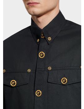 Medusa Button Gabardine Shirt by Versace
