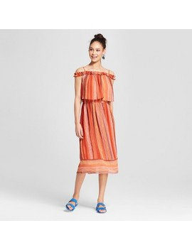 Women's Striped Off The Shoulder Midi Dress   Mossimo™ Rust Orange by Shop All Mossimo
