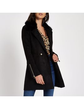 Black Faux Fur Collar Swing Coat by River Island