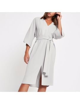 Light Grey Tie Waist Wrap Midi Dress by River Island