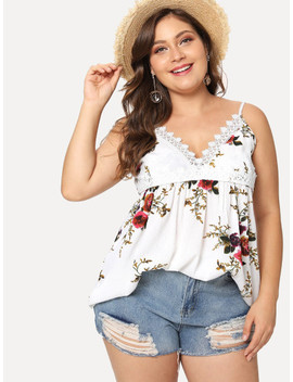 Plus Lace Trim Floral Cami Top by Sheinside