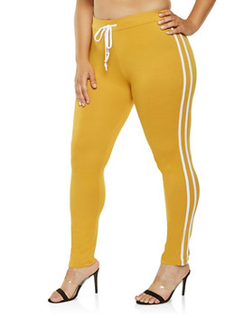 Plus Size Varsity Stripe Leggings Plus Size Varsity Stripe Hooded Top by Rainbow