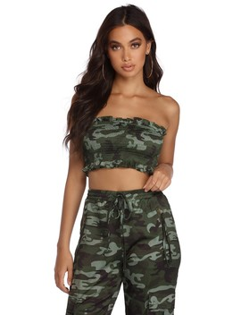 Smocked Status Camo Crop Top by Windsor
