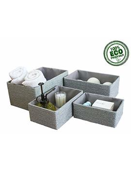 Storage Baskets Boxes Set Of 4, Eco Material Made Of Paper, Stackable Shelf Baskets, Closet Maid Drawer Organizers, For Bedroom Office Dormitory by Ljm