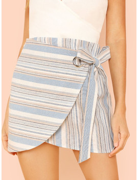 Knot Side Striped Wrap Skirt by Shein