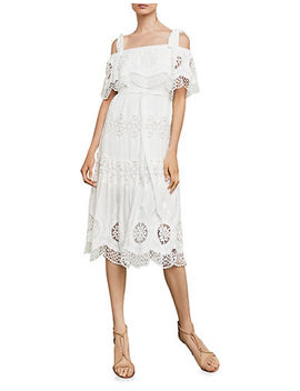 Cold Shoulder Eyelet Midi Dress by Bcbg Maxazria
