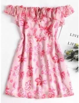 Lace Up Off Shoulder Mini Dress   Pink Bubblegum L by Zaful