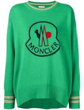 Monclerlogo Embroidered Sweaterhome Women Moncler Clothing Knitted Sweaters Rockabilly Jeanslogo Embroidered Sweater by Moncler