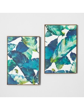 """Tropical Palm 2pk Framed Wall Canvas Blue 23.2""""X 35.2""""   Opalhouse™ by Shop This Collection"""