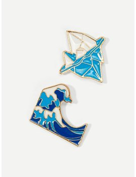 Mountain Shaped Brooch Set 2pcs by Romwe