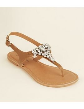 Wide Fit Tan Leather Gem Strap Flat Sandals by New Look