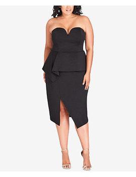 Trendy Plus Size Strapless Peplum Dress by City Chic