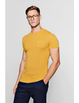 Pocket Ribbed Knit T Shirt by Boohoo