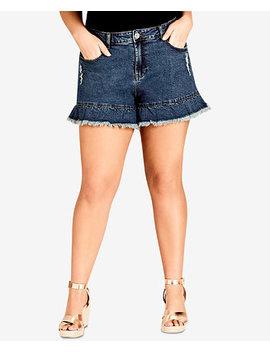 Trendy Plus Size Ruffled Denim Shorts by City Chic