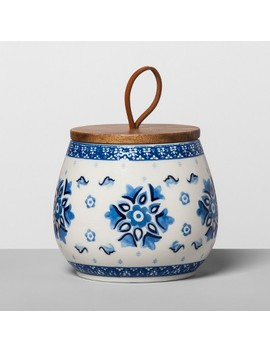 Floral Stoneware Canister With Wood Lid Blue/White   Opalhouse™ by Shop This Collection