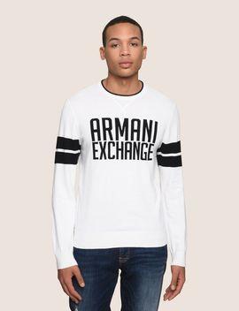 Crewneck Intarsia Varsity Sweater by Armani Exchange