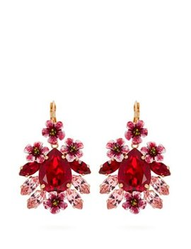 Floral Crystal Embellished Drop Earrings by Dolce & Gabbana