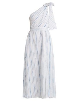 One Shoulder Striped Linen Dress by Gül Hürgel
