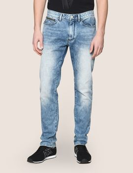 Tapered Fit Zip Detail Acid Jeans by Armani Exchange