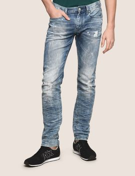 Slim Fit Bleached Distressed Jeans by Armani Exchange