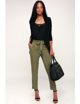 Confident Stride Olive Green Trouser Pants by Lulu's