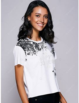 Casual Short Sleeves Letter Pattern T by Gamiss