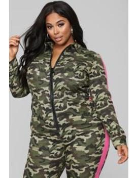Queen Of The Squad Jumpsuit   Camo by Fashion Nova