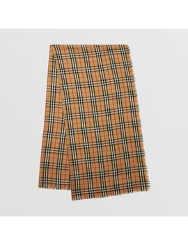 Vintage Check Lightweight Cashmere Scarf by Burberry